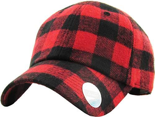 KBE-Plaid RED-BLK 6 Panel Buffalo Plaid Dad Hat Baseball Classic Adjustable Soft Plain Cap