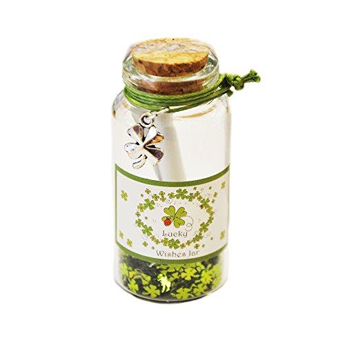 Jar Wishing (Irish Good Luck Wishing Jar with White and Green Label Shamrock Design)