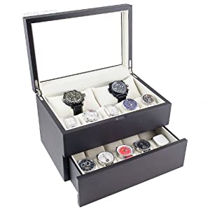 Caddy Bay Collection Vintage Dark Walnut Wood Watch Case Display Storage Watch Box Glass Top Holds 20+ Watches with Adjustable Soft Pillows and High for Larger Watches