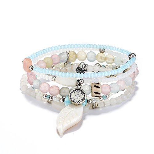 Stretch Bracelet Set Bead (tom+alice Beaded Bracelets for Women Stackable Handcut Natural Stones 5 pcs Ermish Stretch Set Bangle)