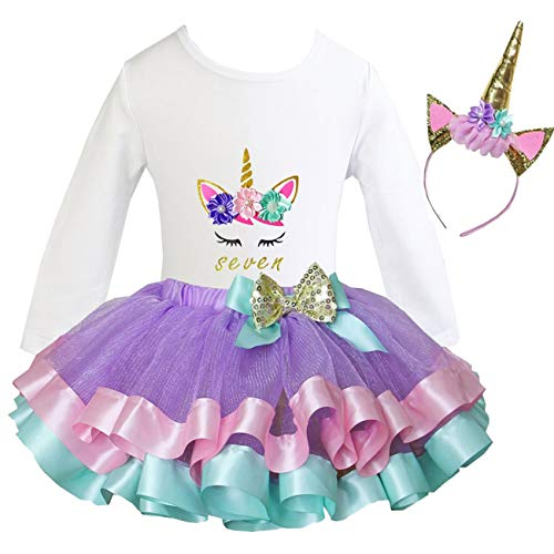 Kirei Sui Girls Lavender Trimmed Tutu Birthday Unicorn L Long Sleeve Seven