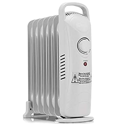 LHONE 700 W Portable Electric Oil Filled Radiator Heater with Adjustable Temperature Electric Radiator Heater for Home and Office White