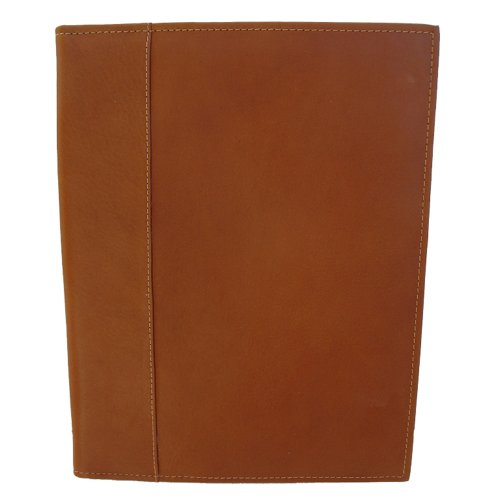 Piel Leather Letter-Size Padfolio with Organizer, Saddle, One Size