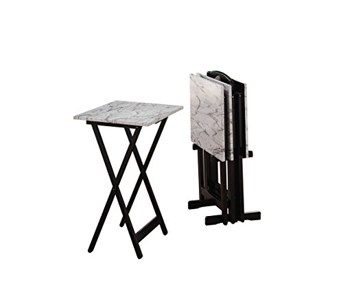 Linon 43001WHTSET-01-AS Tray Table Set, 15.75