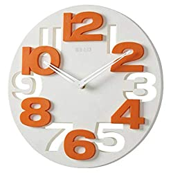 SUPVOX 3D Big Digital Modern Contemporary Home Office Decor Round Wall Clock (White)