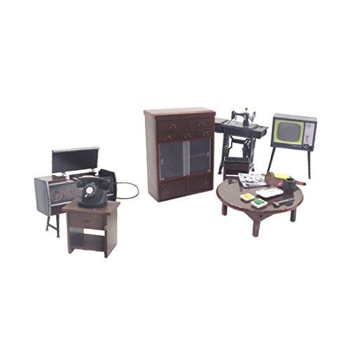 Perfk 1/12スケール ドールハウス飾り 家電家具 電話 テレビ模型 ミニチュア アクセサリーの商品画像