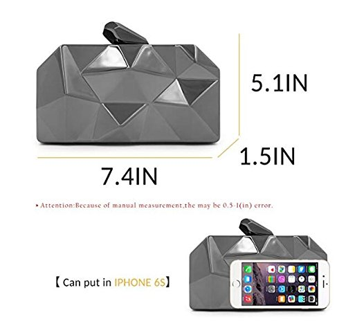 Clutch Geometic Clutch Metal Black Purse Evening NBWE Clutches Women Fashion xXqwBXTFp