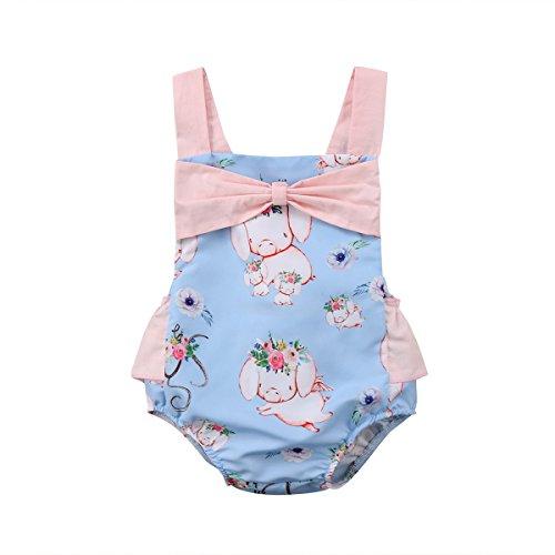 Baby Blue Pig (gllive Newborn Baby Girls' Full Flower Pig Print Sleeveless Bodysuit Romper Jumpsuit Outfit (Blue, 0-6 Months))
