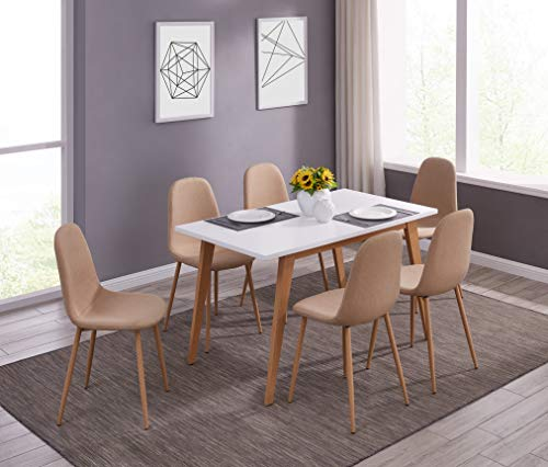 IDS Online MLM-18748-6 Scandinavian Style MDF Dining Table Set 7 Pieces, Beige