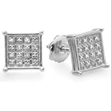 0.10 Carat (ctw) Sterling Silver Real Diamond Square Shape Mens Hip Hop Iced Stud Earrings 1/10 CT