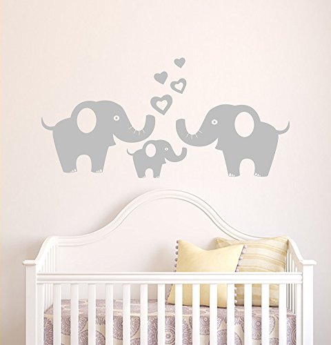 ANBER Elephant Family Wall Decal Removable Vinyl Wall Art Elephant Wall Decorative Unisex Sticker Baby Nursery Wall Décor from ANBER