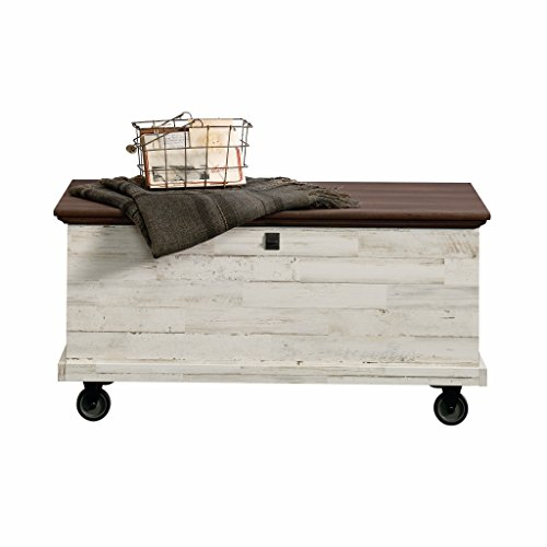 Sauder 419590 Eden Rue Rolling Chest, White Plank (Tables Coffee Colorful)