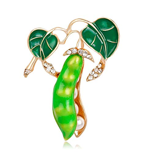 DDLLI Pea Pod Diamond Couple Brooch Pins Broaches for Women Pins for Jackets Corsage for Women Broches for Women Plant,A by DDLLI