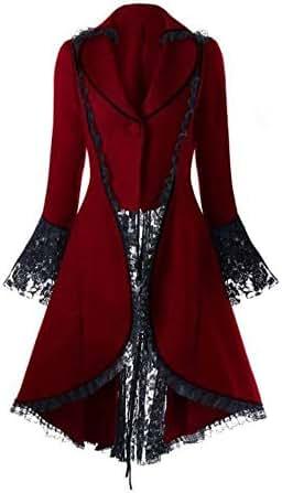 Jacket for Women Vintage Long-Sleeve Waist Back Bandage Lace Stitching Overcoat Fashion Casual Lace Dress