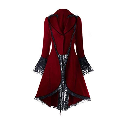 (Kstare Steampunk Coat Casual Jackets Retro Victorian Punk Women Long-Sleeved Waist Back Bandage Over Coat Skirt Red)