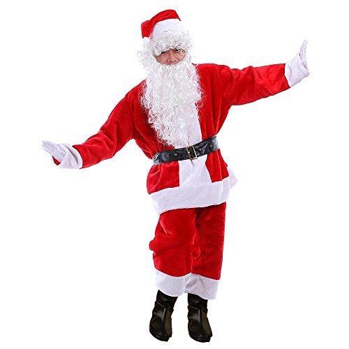 Reindeer Costume Rental (Ohuhu Christmas Flannel Santa Suit, Adult Costume Santa Outfit Santa Costume With Pullover Coat, Pants, Hat, Belt, Gloves & Boot Top)