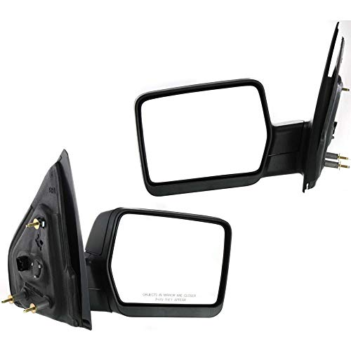 Power Mirror compatible with Ford F-150 04-08 Right and Left Side Manual Folding Non-Heated New Body Style Textured Black
