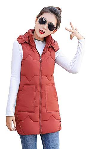 剣種類前進Alhyla レディース ダウンベスト レディース 秋 冬 ファッション 韓国風 ベスト 無地 フード付き ロングスベスト スリム 中綿ベスト