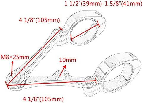 Gabel Rohr Durchmesser Universal Passend f/ür // Universal Naliovker Motorrad Scheinwerfer Halter Modelle 39Mm 41Mm // BSA Schwarz