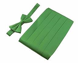 Men\'s 100% Pure Silk Cummerbund & Bow Tie Set - Multi Colors (Green)