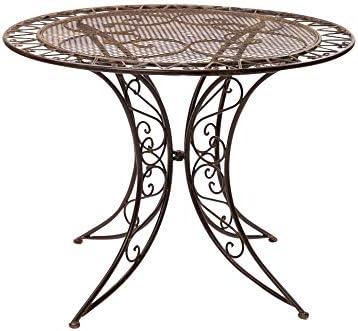 Gartentisch Eisen Schmiedeeisen Tisch Bistrotisch Gartenmöbel antik Stil braun