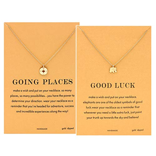 (CYBERNY Women Going Places Compass Pendant Necklace with Graduation Message Card Golden)