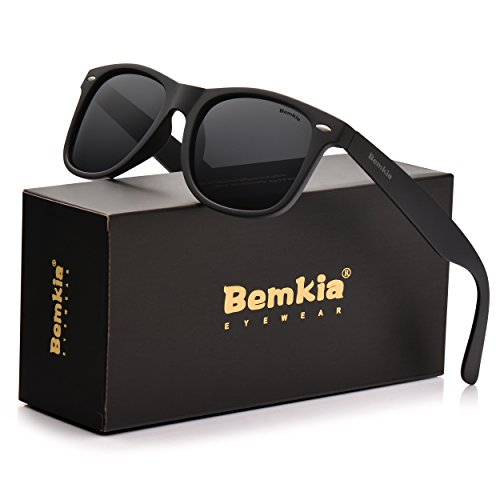 Bemkia Sunglasses Men Women Polarized Retro Classic UV 400 Protection 54 MM (23 Matte Frame with Rivets/Black Non-MirrorLens, 54) (Oakley Two Face Clear Lenses)