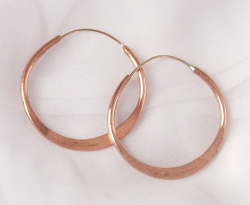 Hoop Earrings, Hammered Copper