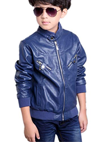 Boy's Trendy Stand Collar PU Leather Moto Jacket Leather Coat]()