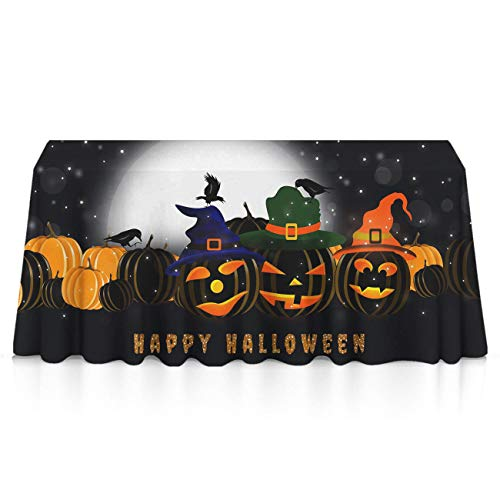 GLORY ART Halloween Horror Pumpkin Rectangle Tablecloth Water Resistant Spill Proof Table Cloth 52x70 inches for Indoor or Outdoor Parties,Dinner,Wedding, Birthday, Picnic, X-mas, Holiday]()