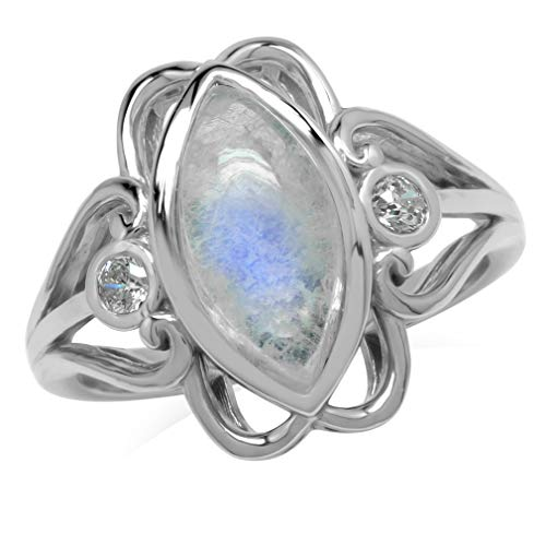 14x7MM Natural Marquise Shape Moonstone 925 Sterling Silver Victorian Swirl Style Ring Size 10 ()