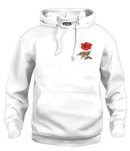 Ricamato bianco Con Rugby Old Logo Felpa Inghilterra Cappuccio Nazionale Xx large Retro School pwq8YnqTv