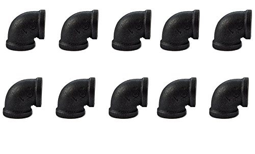 10 Pack 1/2 Black Iron Pipes - DIY Pipe Furniture - 1/2-Inch Threaded Pipe Nipples - Industrial Piping - Plumbing Supplies (10 Pack 1/2 Pipe Elbow Fittings) ()