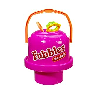 Little Kids Fubbles No-Spill Big Bubble Bucket in Pink for Multi-Child Play, Made in the USA