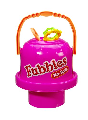 Little Kids Fubbles No-Spill Big Bubble Bucket in Pink for Multi-Child Play, Made in the USA -