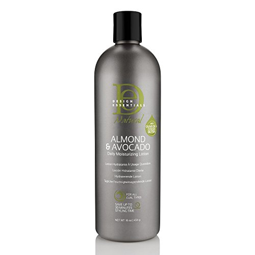 Design Essentials Natural Daily Hair Moisturizing Lotion -Moisture Rich Botanicals, Jojoba & Olive Oils- Almond & Avocado Collection, 16oz.