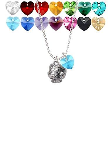 Medium 3-D Ram Head Custom Crystal Heart Sophia Necklace, - Pendant Head Ram Gold
