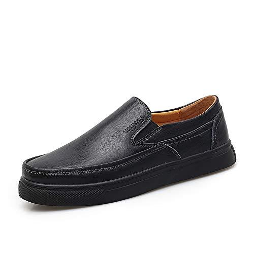 Noir 45 EU Meilleures ventes Chaussures Oxford Chaussures Oxford for Hommes Chaussures Habillées Slip On Style En Cuir Véritable Simple Couleur Unie Confortable Bout Rond TempéraHommest Chaussures Confortables Robe