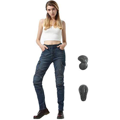 TIUTIU Motorrad-Jeans Für Damen, Army Green Freizeithose, Bruchsichere Rennhose Mit 4 Abnehmbaren Schutzpolstern (Blue,S…