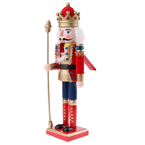 (Homyl Vintage 30cm Wood Fluffy Costume Nutcracker Soldier Figures Figurine Home Desktop Ornaments Children Xmas Birthday Gift Red)