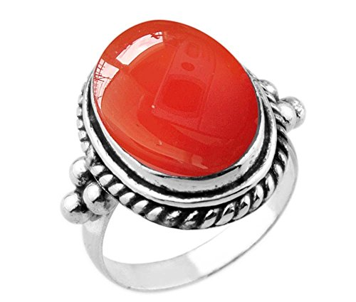 8.90ctw,Genuine Carnelian 12x16mm Oval & .925 Silver Plated Handmade Ring (Size-10) by Sterling Silver Jewelry