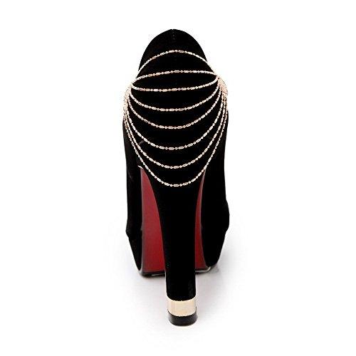 Odomolor Mujeres Puntera Redonda Cerrada Sin cordones Sólido Tacón ancho De salón con Diamante Negro