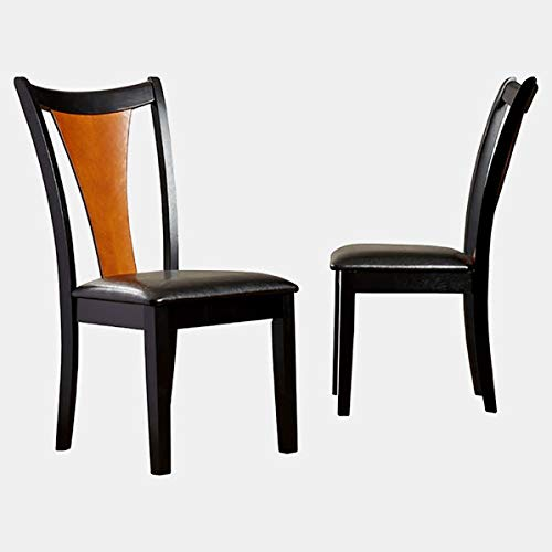 Wood Dining Chair with Faux Leather Upholstery - Dining Chair with Slat Back and Square Legs - Set of 2 - Amber/Black