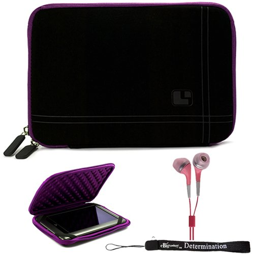 Purple Black Limited Edition Stylish Sleeve Premium Cover Case with Aerotechnology Protection and with front pocket for accessories For Barnes & Noble NOOK COLOR eBook Reader Tablet + Includes a eBigValue (TM) Determination Hand Strap + Includes a Crystal Clear High Quality HD Noise Filter Ear buds Earphones Headphones ( 3.5mm Jack )
