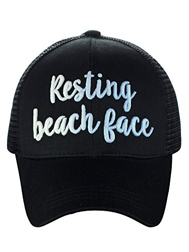 C.C Ponycap Color Changing 3D Embroidered Quote Adjustable Trucker Baseball Cap, Resting Beach Face, Black Black 3d Embroidered Hat