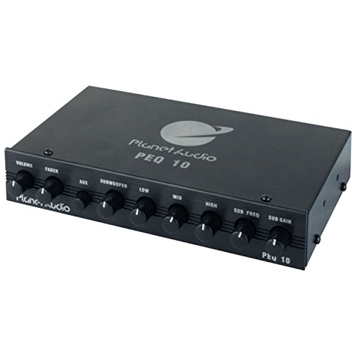 Planet Audio PEQ10 4 Band Graphic Equalizer Subwoofer Output with Adjustable - Car Audio Signal Processor