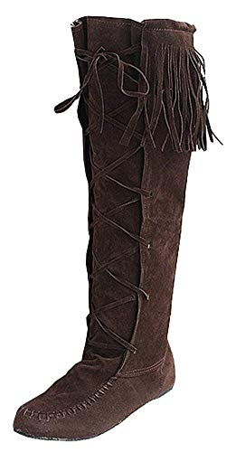 Women's Fashion Round Toe Stitches Fringe Lace Up Knee High Riding Boots(Brown-5 M US)]()