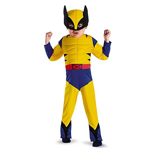 Toddler Wolverine Muscle Costumes (Marvel Wolverine Muscle Costume Mask Claws included 3T 3 4T 4)
