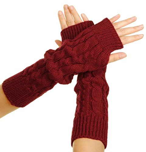 Flammi Women's Cable Knit Arm Warmers Fingerless Gloves Thumb Hole Gloves Mittens (Wine Red)