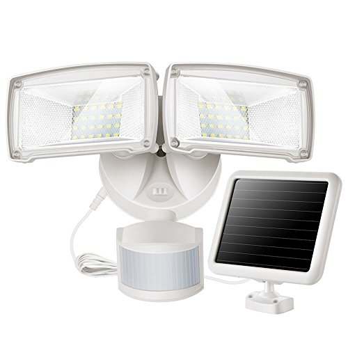 LED Solar Motion Sensor Flood Light, Motion Activated Outdoor Security Light with 2 Adjustable Heads, 950LM 5000K Daylight White Exterior Motion Detector Light Fixture for Patio Driveway Yard Garage